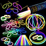 "100 Glow Stick Party Pack - 100 Mixed Color 8"" Premium Glowsticks with Connectors to Make Bracelets, Glasses, Flowers, Balls and More - Bulk Wholesale Pack"