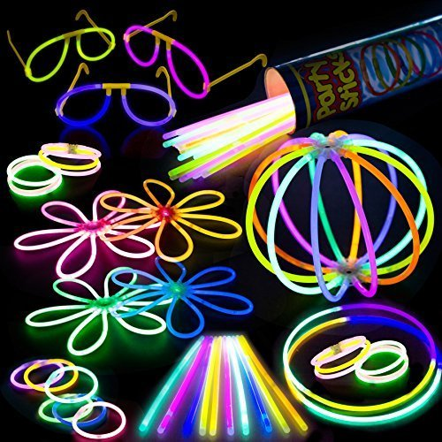 100 Glow Stick Party Pack – 100 Mixed Color 8″ Premium Glowsticks with Connectors to Make Bracelets, Glasses, Flowers, Balls and More – Bulk Wholesale Pack