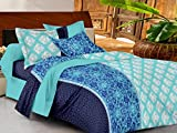 Casa Basics -144 TC Ezy Collection Blue & Sky Blue Geometric 100% Cotton Double Bedsheet With 2 Pillow Covers