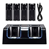 Wii Charger Station for Wii Controller, Wii Remote Charger with 4 Rechargeable Batteries USB Charging Cord LED Indicator -Black (Color: Black)