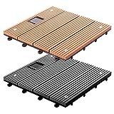 Dalles terrasse casa pura® Timber LED en 2 coloris | avec lumière LED | Set de 11 piè