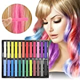 Temporary Hair Chalk - Ovinm 2017 Upgrade Non-Toxic Rainbow Colored Dye Pastel Kit, Included with 3 pairs of disposable gloves and shawls, Color Essentials Set(24 COUNT) (Color: 24 Colors)