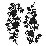 2pcs Black Flowers Iron On Patches Garment Applique Embroidery DIY Accessory Cheongsam Skirt Clothes 31X15cm(Black A) (Color: Black A)
