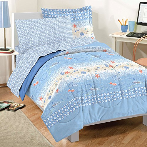 Dream Factory Casual Beach Stripe Comforter Set, Twin, Blue