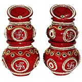 Suman Creations Sand Mitti Ghada Sand Kalash Set Of 6 Pcs Showpiece (0.5X16.51X12.7, Red)