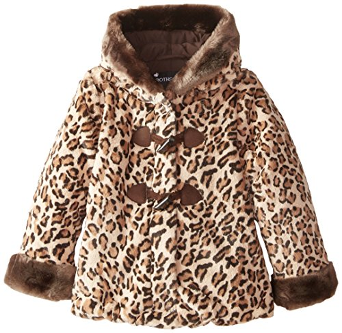 Rothschild Little Girls' Printed Faux Fur Coat Toddler, Honey Leopard, Small/2T