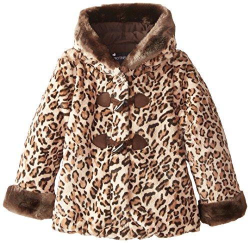 Rothschild Little Girls' Printed Faux Fur Coat Toddler, Honey Leopard, Small/2T