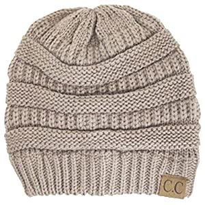 Luxury Divas Charcoal Thick Slouchy Knit Oversized Beanie Cap Hat,One Size,Beige