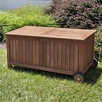 4 ft Teak Wood Storage Bench on Wheels