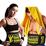"""Ezy Fitness Waist Trimmer Ab Belt for Men & Women - Waist Trainer Made of Neoprene 10"""" Width & Fits up to 46"""" in Length - Low Back & Lumbar Support - Abdominal Trainer & Acts As Abs/Core Trainer"""