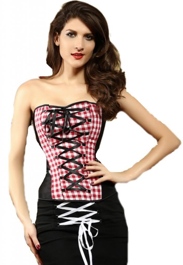 C-Princess 優雅スリム女性用補正ボディスーツ つけるだけ くびれ美人 アンダーバスト コルセット ダイエット チェック柄 黒赤混色