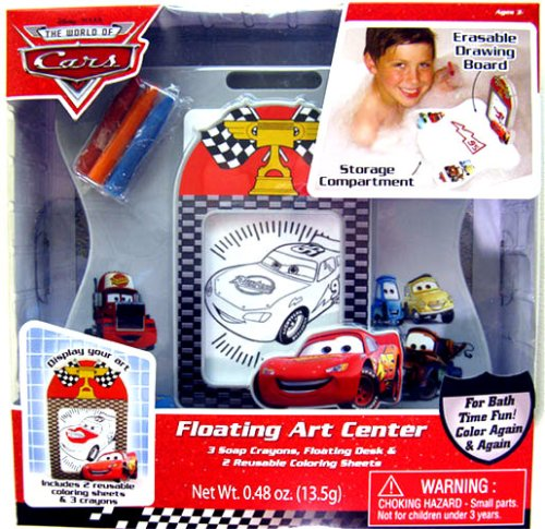 Disney Cars Bath Tub Floating Art Center (3 Crayons, Floating Desk, 2 Reusable Coloring Sheets) by MZB - 1
