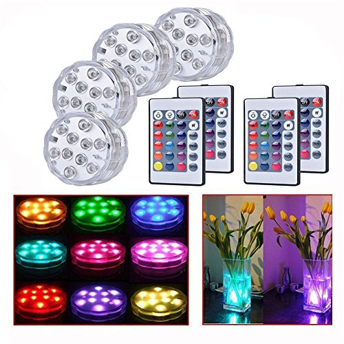 Thiroom 4pcs 10-LED Waterproof RGB Submersible Underwater Colour Changing Lights AAA Battery with Remote Control for Wedding Party