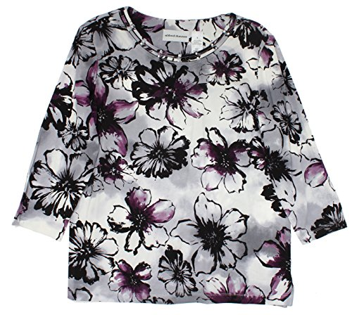 Alfred Dunner Women's Classic Embellished Flower Print 3/4 Sleeve Shirt, Multi, XL (Alfred Dunner Classics compare prices)