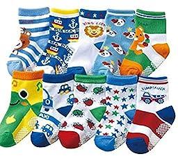 Baby Toddler Kids 10 Pack non-skid non-slip Socks, 1-3 year