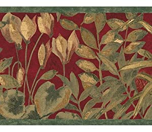 Wallpaper Border Various Tropical Leaves on Red with Green Trim