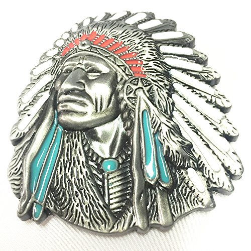 3d Native American Old West Indian Warrior Chief Belt Buckle Biker Motorcycle Vintage Silver 0