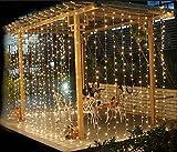 3MX3M/300LED 室内装飾 クリスマスパーティー、婚式、学園祭、ガーデンパーティー カーテンライト LEDイルミネーションライト 防水国際基準防水IP44 8種類の点滅パターン 複数連結可能 コントローラ付き(ホワイト 300球)