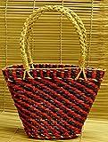 The India Craft House Kouna Craft Basket -Blue & Red