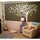 "PopDecors - Big Tree with Love Birds (100"" W) White Tree and Lime Green Birds- Beautiful Tree Wall Decals for Kids Rooms Wall Stickers Nursery Decor Nursery Decals PT-0116-V8 Long Left"