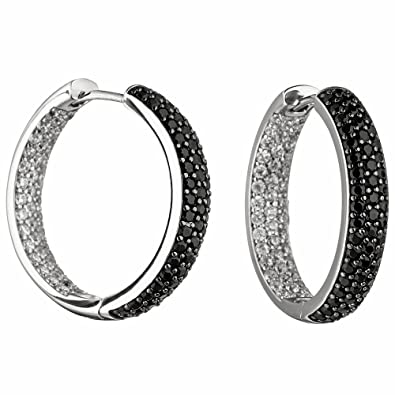 HOOP EARRINGS 925 STERLING SILVER ZIRCONIA