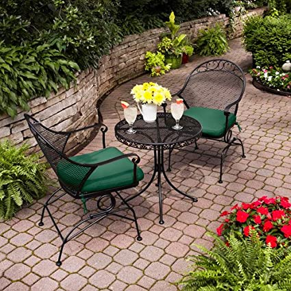 Clayton Court 3 Piece Motion Chairs & Table Outdoor Furniture Bistro Set, Green, Seats 2