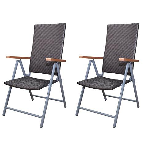 Anself Conjunto de Muebles Marrones Poli Ratán Marco Aluminio