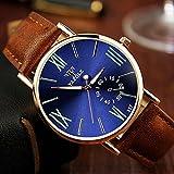 ZooooM クロノグラフ ラウンド デザイン アナログ 腕 時計 フェイク レザー ベルト ファッション アクセサリー フォーマル カジュアル ビジネス メンズ 男性 ( ブルー ) ZM-CLWC364-BL