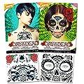 Day of the Dead Sugar Skull Chest and Face Tattoo Kits -- 2 Chest and Face Temporary Tattoo Sets (Red Roses, Skull, Glitter Design)