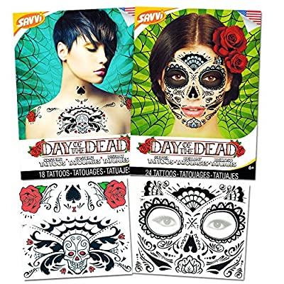 Day of the Dead Sugar Skull Chest and Face Tattoo Kits -- 2 Chest and Face Temporary Tattoo Sets (Red Roses, Skull, Glitter Design)