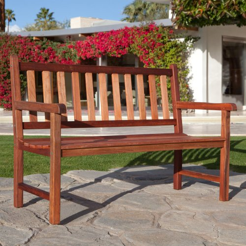 Coral Coast Coral Coast Richmond Straight-Back 4-ft. Outdoor Wood Bench, Medium Wood, Wood, 51L x 26.4W x 35.4H in.