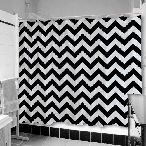 Uneekee Black Chevron Shower Curtain: Small