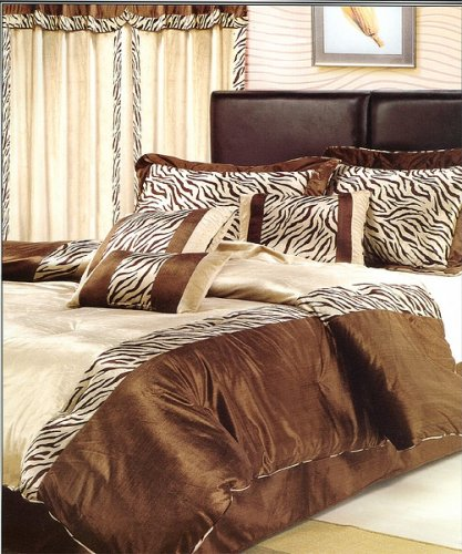7pc Queen Size Zebra Animal Print Comforter Bed in a Bag Set