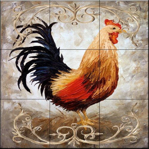 Rooster V by Malenda Trick - Kitchen Backsplash / Bathroom wall Tile Mural