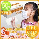 【即納可能】 高性能3層マスクBFE99.9%★ 幼児用・子供用マスク 高性能3層式・サージカルマスク・使い捨て不織布マスク50枚入★インフルエンザ対策