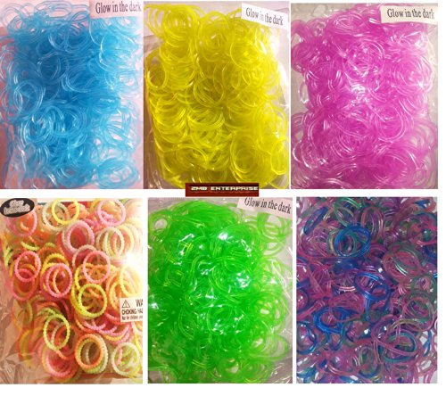 "Glow in the Dark Rainbow Rubber Loom Rainbow Bands 1800 Pieces with 72 ""S"" Clips Assorted Colors - 1"