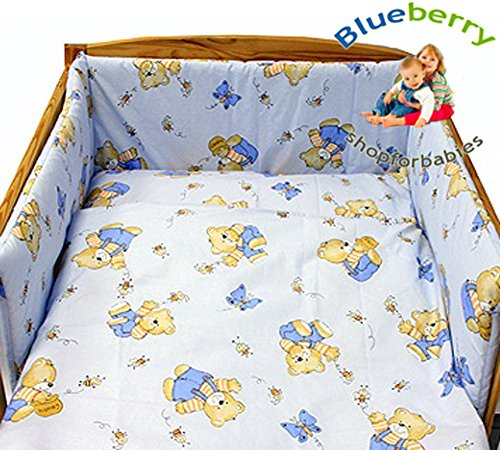 "Blueberry Shop Baby Cot Bed Bundle Duvet+Pillow Covers 35.5"" x 47"" (90Cmx120Cm) Blue - 1"