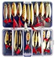 Fishing Lures Metal Spoons Hard Baits 22pcs Set Metal Fishing Lures Spinner Baits Fish Treble Hooks Tackle Salmon Bass by Victoronlineshop