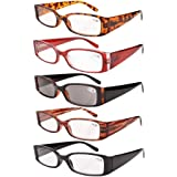 Eyekepper Spring Hinge Plastic Reading Glasses (5 Pack Mix) Includes Sunglass Readers Women +4.0 (Color: 5 Pairs Mix, Tamaño: +4.00)