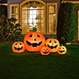 Halloween Inflatable Pumpkin Family With Flashing Lights