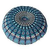Goddessvan Large Mandala Floor Pillows Round Bohemian Meditation Cushion Cover 8080cm (8080cm, Blue)