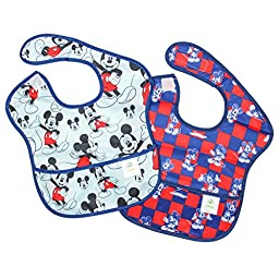 Bumkins Disney Baby Waterproof SuperBib 2 Pack, Mickey Mouse (Checkered/Classic) (6-24 Months)