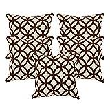 Khrysanthemum Oxford Cotton Geometrical Print Circle Cushion Cover (Set Of 5) - 16 x 16 inches, Brown