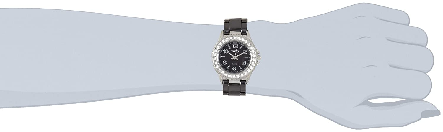 Женские наручные часы XOXO Women's XO2006 Swarovski Crystal Accented Silver-Tone Black Ceramic Bracelet Watch