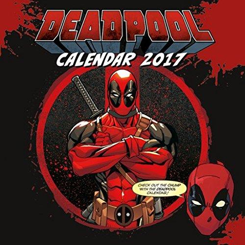 Confezione - 2 Articoli - Deadpool 2017 Ufficiale Calendario Parete - Dimensioni Da Chiuso: 35 x 35 cm (30.5x30.5cm) e un Set di 4 Cuscinetti Adesivi Riposizionabili