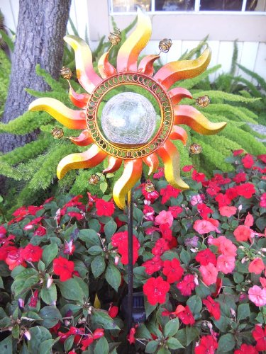 Solar Powered Glass Crackle Stake Color Changing Light With New Shining Sun Home Garden Decor