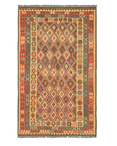 Hand Woven Hereke Wool Kilim, Light Gold/Red, 6' 2 x 10'
