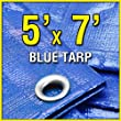 Grizzly Tarps GTRP57 5' X 7' Blue Multi-Purpose 6-mil Waterproof Poly Tarp Cover 5x7 Tent Shelter Camping Tarpaulin by Grizzly Tarps