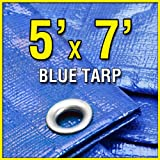 5′ X 7′ Blue Multi-Purpose 6-mil Waterproof Poly Tarp Boat Cover 5×7 Tarpaulin for Camping Tent Shelter Shade, Outdoor Stuffs