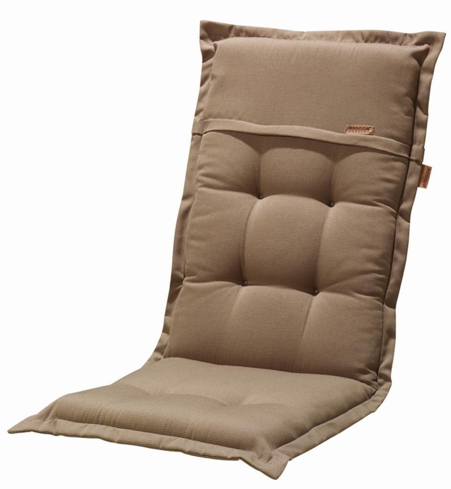 2 Stück MADISON Dessin Rib Stuhlauflage für Relaxsessel, Sitzpolster, 100% Polyester, 160 x 50 x 8 cm, in braun